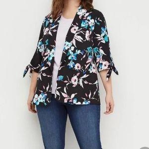Lane Bryant Plus Floral Tie Sleeve Crepe Jacket